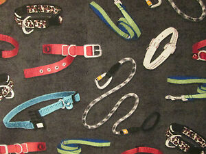 DOG COLLARS CAT LEASHES DOGS CATS CHARCOAL COTTON FABRIC 3 INCH CUT