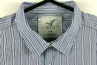 Rodd & Gunn Shirt Men's Long Sleeve Collared Button Up Size Large Blue & White