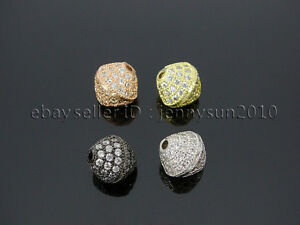 Zircon Gemstones Pave Bicone 10mm Bracelet Connector Charm Beads Silver Gold