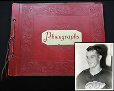 1930s-40s Hockey Album with 16 vintage photographs including Gordie Howe rookie