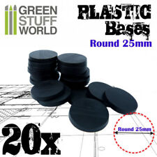 20x Plastic Round Bases 25mm Black - Thickness 3mm Basing Wargames Miniatures