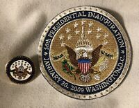 OBAMA BIDEN 2009 INAUGURATION PIN + PATCH PRESIDENT GOLD WHITE ENAMEL RARE HTF