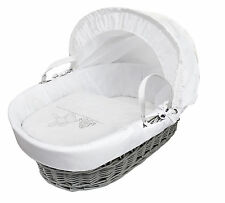 White Teddy Washday On Grey Wicker Moses  Basket