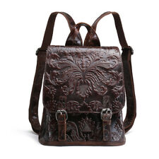 Embossed Backpack School Bag Natural Soft Leisure Genuine Leather Women Daypack