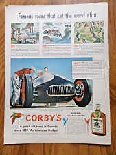 1950 Corby's Whiskey Ad Famous Races 1870 Riverboats 1908 1928 1950 Indy 500