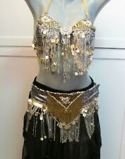 Vintage 2 pc Handmade Belly Dance Costume - Bra Hip Belt Gold Silver Coins Beads