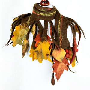 Felt autumn scarf for women with brown & yellow leaves - seasonal scarf for fall