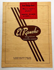 1950s Original Dinner Menu El Rancho Restaurant Santa Rosa California Hwy 101
