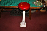 Antique Porcelain Metal Ice Cream Parlor Shop Stool Red Cushion Seat-#1