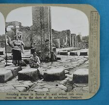 Stereoview Photo Italy Stepping Stones Wheel Ruts In Stabia St Pompeii Realistic