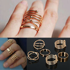 6X/set Sexy Knuckle Ring Punk Cool Lady Urban Gold Stack Above Band Mid Rings