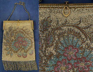 Antique Steel Cut Micro Beaded Cherry Blossom Madein France Gold Frame Purse VTG