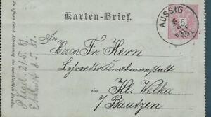 AUSTRIA  ✱ 1889  ENTIRE POSTAL STATIONERY ✱ AUSSIG TO KLEINWELKA   [1568]