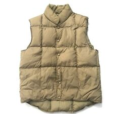Lands' End Unisex Medium 10-12 Brown Goose Down Puffer Vest Snap button front