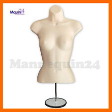 Female Mannequin Form Flesh + Metal Stand + Hanging Hook / Women Torso Display