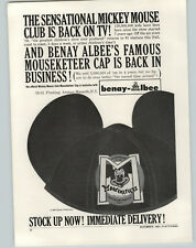 1962 PAPER AD Mickey Mouse Club Mouseketeer Car Ears Benay Albee