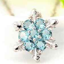 Unique Charm Blue Crystal Snowflake Charm Flower Silver Necklace Pendant Gift TR