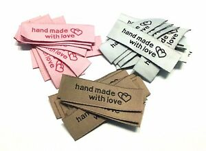 """20 Etiketten Aufnäher """"Handmade with love"""" Label 5 x 1,5 cm Applikation"""