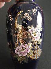 Cobalt Blue Japanese Vase Tajimi Pottery Japan Porcelain Vase Peacock / Peafowl