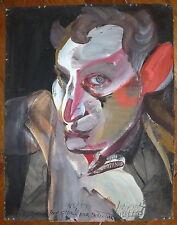 Beringer Gérard tempera dessin sur papier signée 1989 autoportrait tarot art