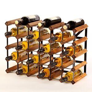 Cranville wine rack storage 30 bottle Oak stain wood / black metal assembled