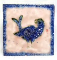 Rare Vintage Hereford Tiles Ltd Majolica Glaze Bird Blue Pink