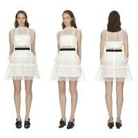 $440 SELF PORTRAIT White Circle Floral Lace Tiered Mini Dress UK 8-12 SP18-039S