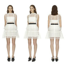 9ed0dc78c852 $440 SELF PORTRAIT White Circle Floral Lace Tiered Mini Dress UK 8-12 SP18-