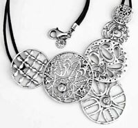 SILPADA STERLING SILVER FILIGREE ART BLACK LEATHER NECKLACE N2343 RETIRED