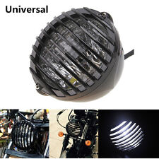 Motorcycle Finned Grill Cover LED Headlight High Low Beam Lamp Cafe Racer Bobber