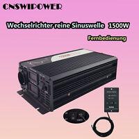 Pure Sinus Wechselrichter 1500W DC 12V/24V/48V to AC 220/230V Fernbedienung