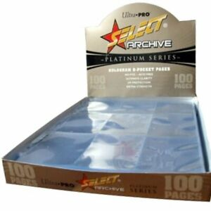 BOX OF 100 SELECT Ultra Pro 9 POCKET CARD PAGES
