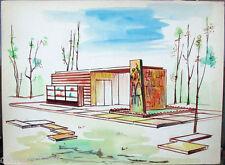 Acquerello '900 su carta Watercolor Architettura futurista cubista razionale-11