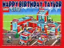 LEGO CITY FIRE HOUSE: Personalized Edible Cake Topper FREE SHIPPING in Canada