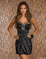 Sexy Mini Cocktail-Kleid Satin Abendkleid Diamant-Steinchen  Größe 34/36 Schwarz