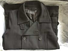 Mens Double-Breasted Peacoat Winter Wool Cotton Jacket Trench Coat