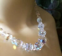 Vintage AB Rainbow Graduated Faceted Glass Bead Necklace 1960s Iridescent party