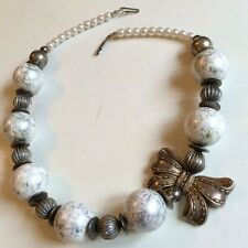 CHUNKY VINTAGE NECKLACE SILVER BOW AND ROUND BEAD NECKLACE FREE SHIPPING