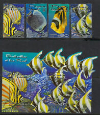 PITCAIRN ISLAND : 2001 Reef Fish set + min Sheet SG 600-3 +MS604 MNH