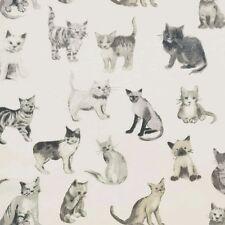 Prestigious Textiles Cool Cats Charcoal Curtain Fabric-137 cm wide - £8.99 metre