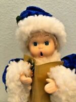 "Vintage Caroler Boy 12"" Doll Dressed in  Crushed Blue Velvet Santa Suit"