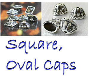 Square or Oval Antiqued Silver Caps Ur Pick