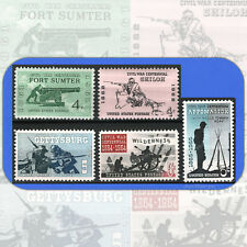 1961-1965 CIVIL WAR CENTENNIAL Complete Set of 5 MINT Stamps w/Bonus #1178-82