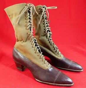 Unworn Edwardian Brown Leather Khaki Wool High Top Lace-up Boots & Shoe Box Vtg