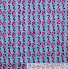 BonEful FABRIC Cotton Quilt Aqua Blue Water Pink Sea Horse Fish Stripe Kid SCRAP