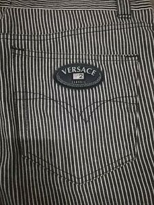 GIANNI VERSACE pants pantalone monogramma cotone cotton righe vintage size 52