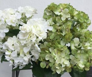 Artificial Silk Flowers 2 Bunches Of Large Hydrangeas 14 Blooms Luxury