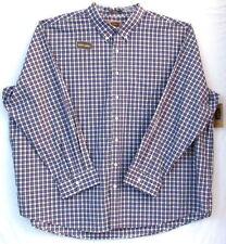 4XL Men's Plaid Shirt-Foundry Supply Co.-Classic Stone/Indigo-Easy Care-NWT