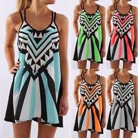 Fashion Women Plus Size O-Neck Camisole Sleeveless Print Beach Mini Short Dress