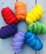 70g Pure Merino Wool Tops Roving. Bright rainbow colours felting and spinning